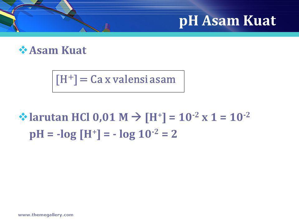 pH Asam Kuat Asam Kuat [H+] = Ca x valensi asam
